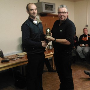 Benny O'Brien collecting Most Improved Cyclist on behalf of Tom O'Dwyer