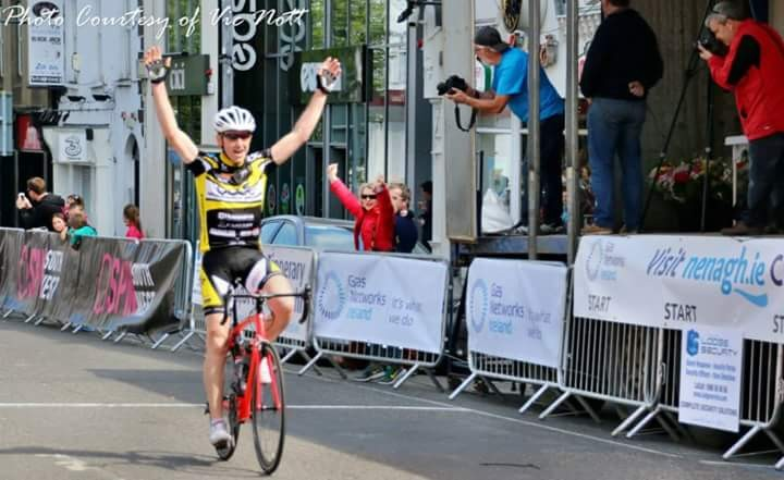 Pierse Butler crosses the line to take first place in the Visit Nenag Classic a4 race.