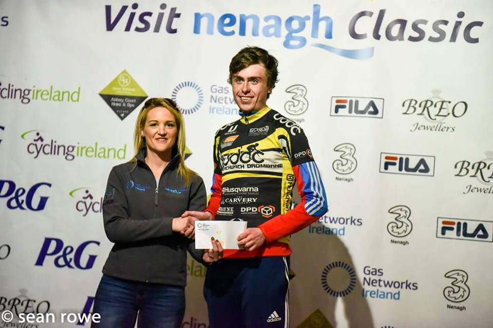 Peter Leahy presented with his 9th place price for the VisitNenagh Classic A3 Race