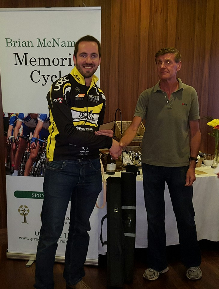 Micheal Cahill is presented with 6th place prize in the A4 race in The Brian McNamara Memorial races in Tuam